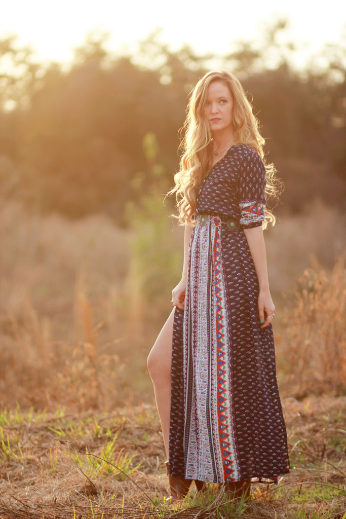 spring boho maxi from shein and DSW tan peep toe booties