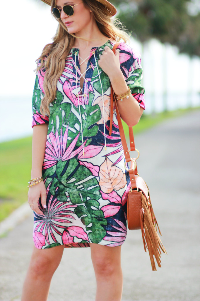 Orlando Florida fashion blog styles Tommy Bahama tropical print dress with Sole Society espadrilles and Sancia Bablyon bag for a casual spring outfit