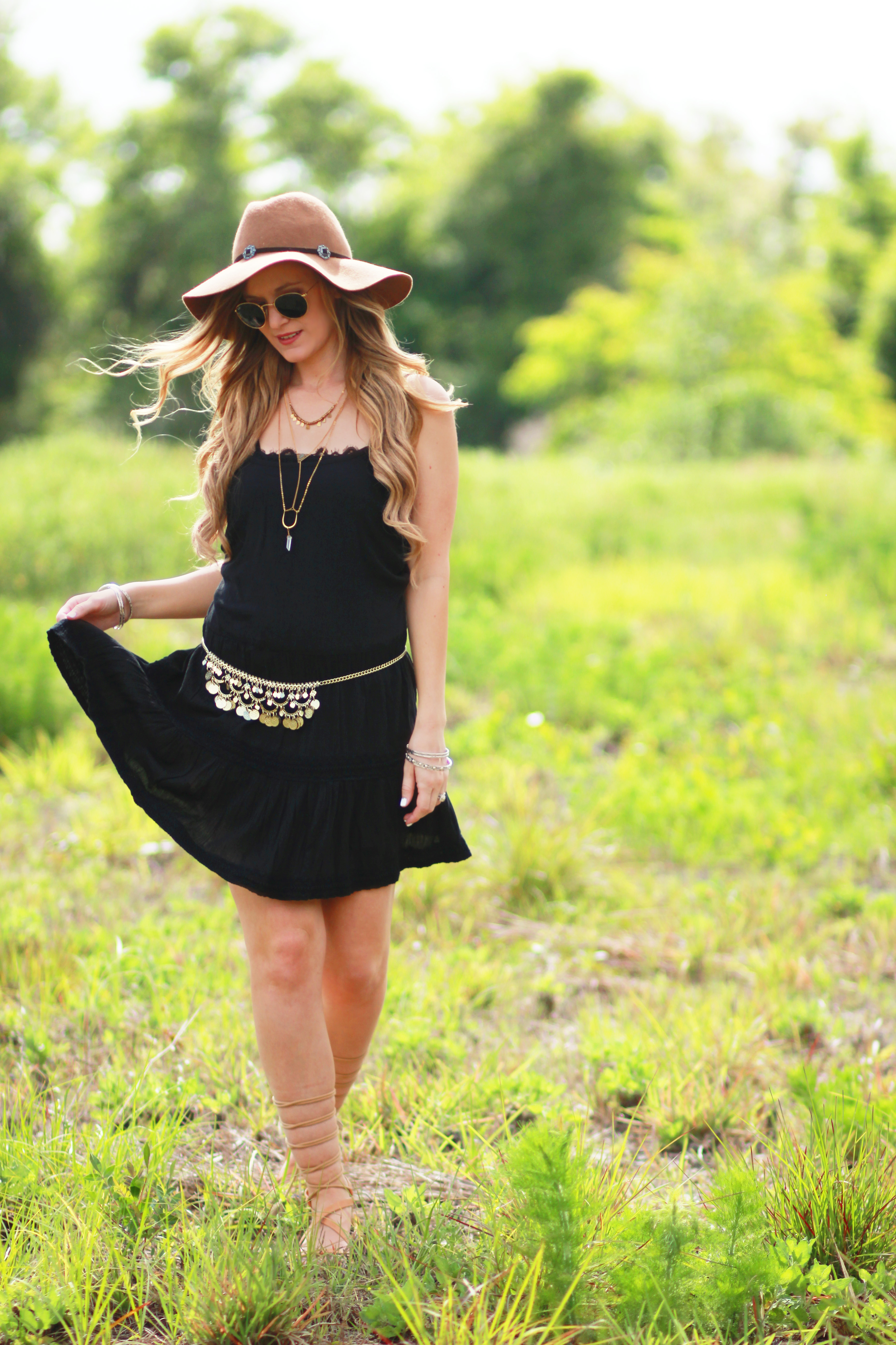 b88d476a0c21 Orlando Florida fashion blog styles Aerie dress and bralette with American  Eagle gladiator sandals and Ray