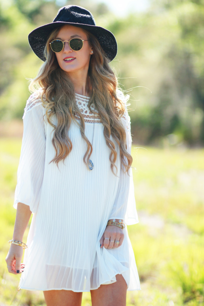 Orlando Florida fashion blogger styles Chicwish boho dress with lace up over the knee boots, and round Ray Ban sunglasses for casual boho outfit