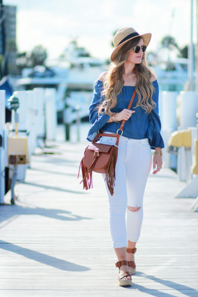 Orlando Florida fashion blog styles H&M chambray off the shoulder top, distressed white jeans, platform espadrilles, and Sancia bag for a nautical outfit