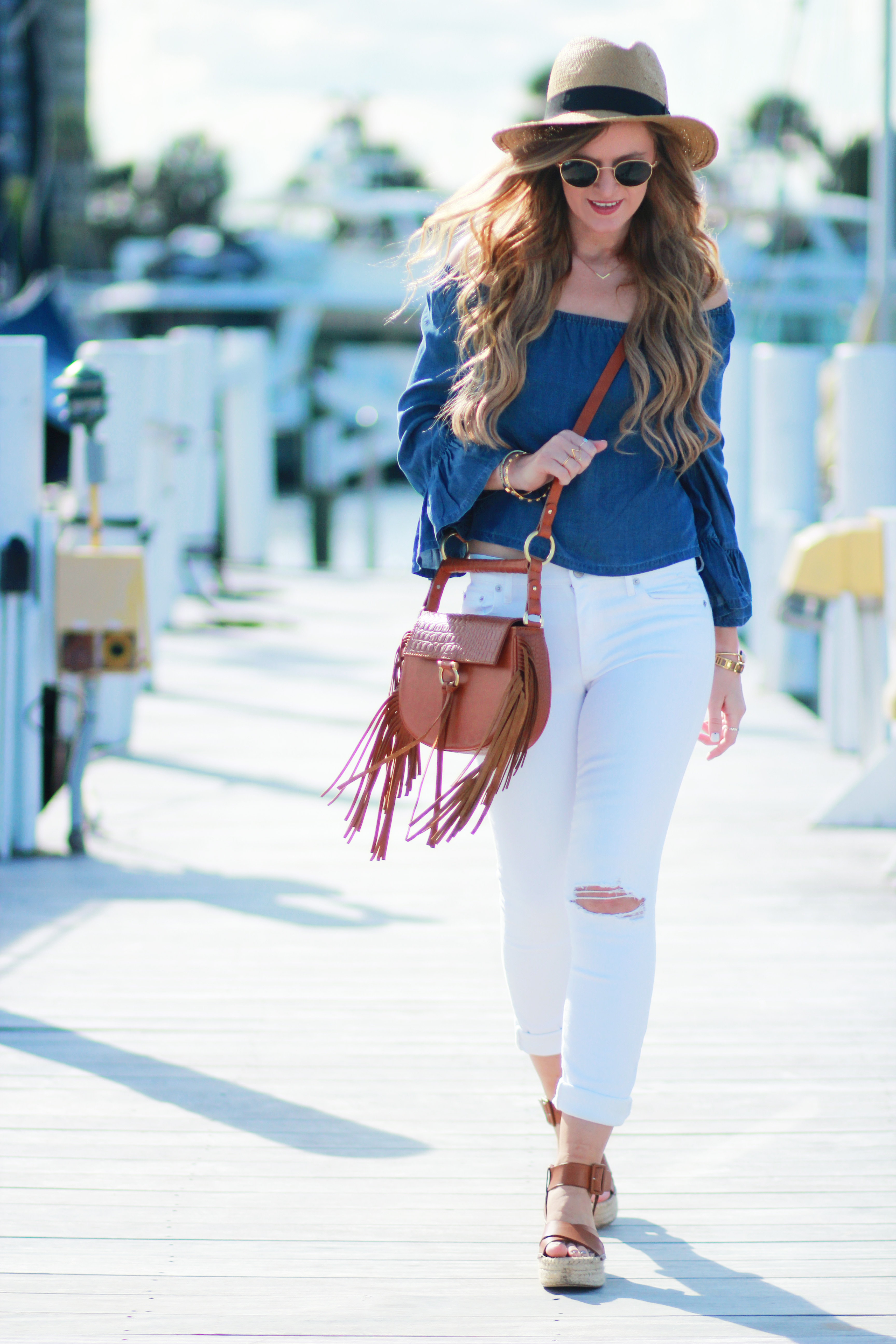cc80920fce9 Orlando Florida fashion blog styles H&M chambray off the shoulder top,  distressed white jeans,