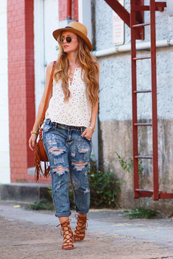 Orlando Florida fashion blog styles lace up eyelet Hollister crop top with Tobi distressed boyfriend jeans, Sancia bag, and Dolce Vita Lyndon sandals