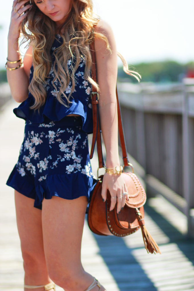 Orlando Florida fashion blog styles Necessary Clothing matching floral set, Aldo gladiator sandals, and Windsor bag for a casual spring outfit