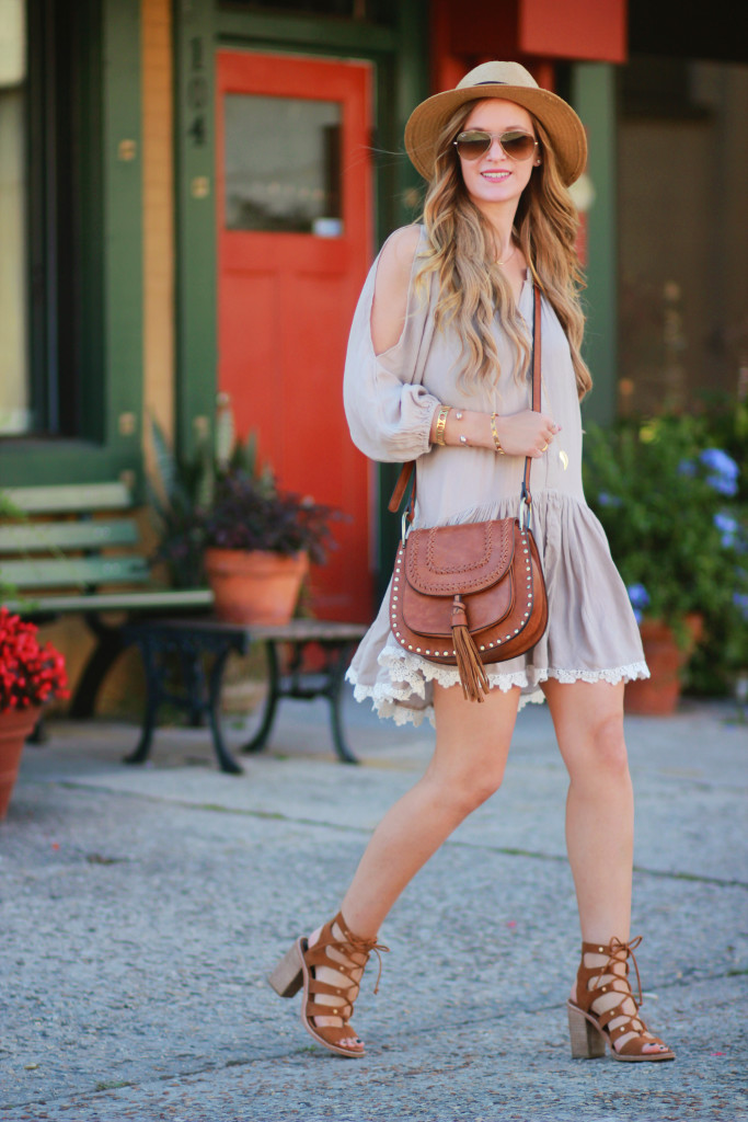 Orlando Florida fashion blog styles Sosie dropwaist dress with Dolce Vita lace up block heel sandals, and Chloe dupe bag for a casual spring outfit