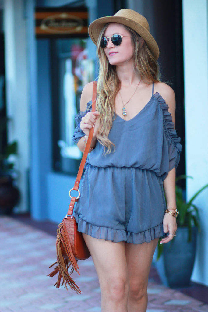 Orlando Florida fashion blog styles Necessary Clothing spring romper with Dolce Vita Lyndon sandals and sancia fringe bag for a casual spring outfit