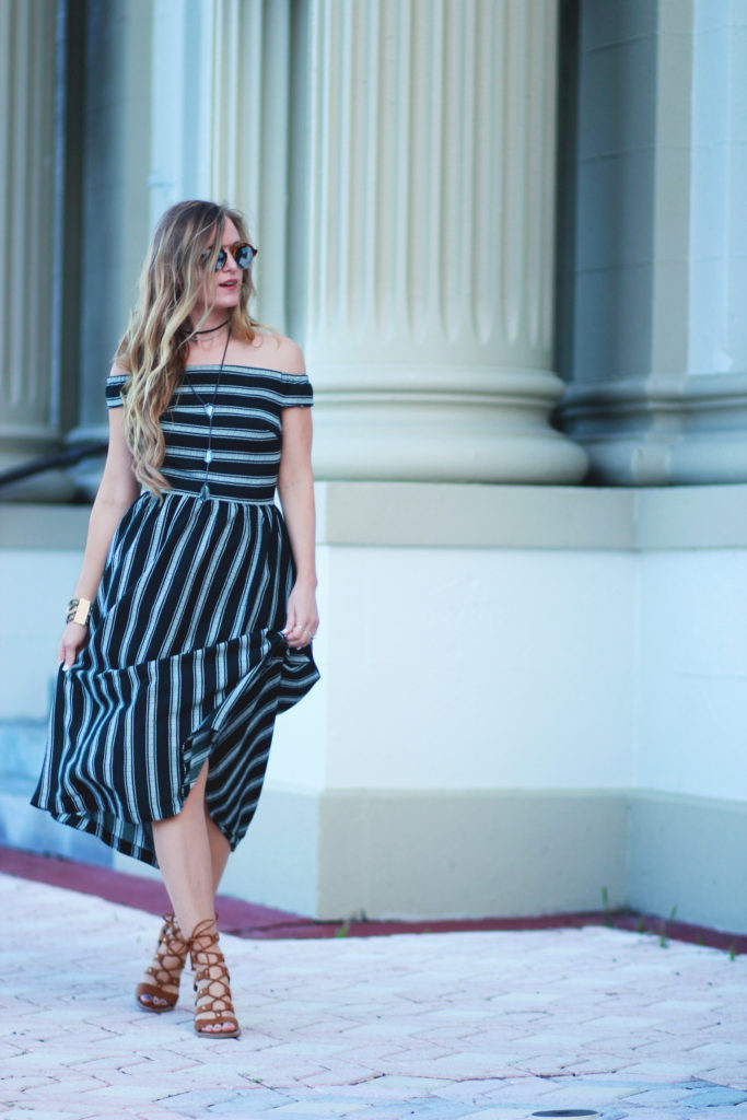 Orlando Florida fashion blog styles Chicwish off the shoulder dress, Lyndon Dolce Vita heels, Illesteva mirrored sunglasses for a casual spring outfit
