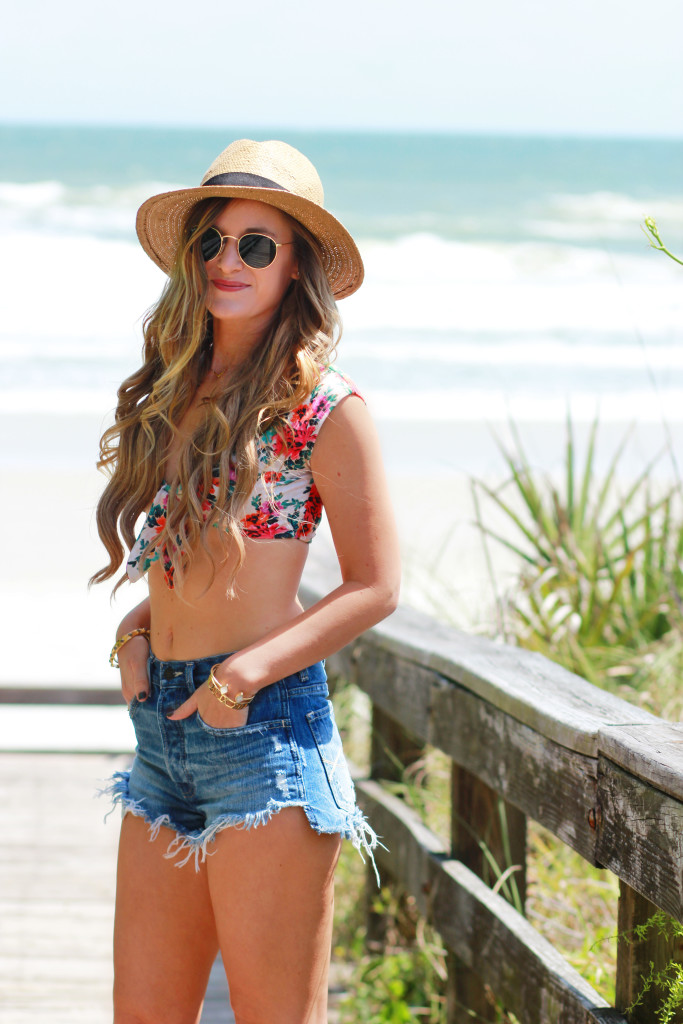 Orlando Florida fashion blog styles Vix Charlotte t shirt bikini, Abercrombie jean shorts, and Sole Society espadrilles for a casual vacation outfit