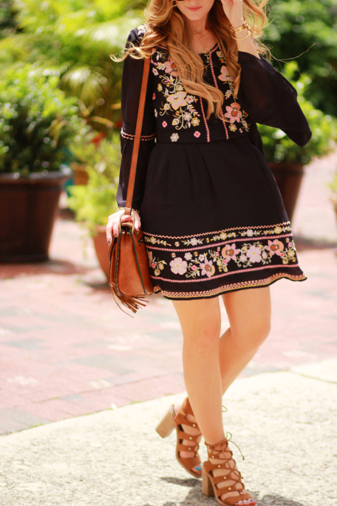 Orlando Florida fashion blog styles French Connection embroidered dress, Dolce Vita lace up sandals, and round Ray Ban sunglasses for spring boho outfit