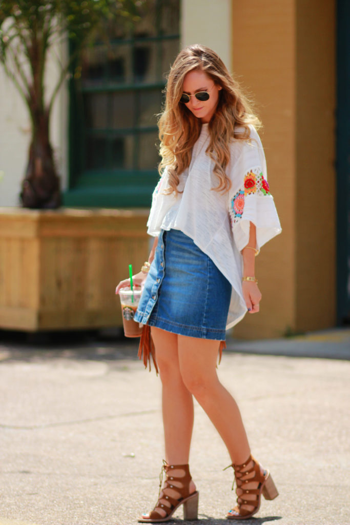 Orlando Florida fashion blog styles crochet top with H&M button up denim skirt, Dolce Vita Lyndon sandals, and sancia babylon saddle bag for spring outfit
