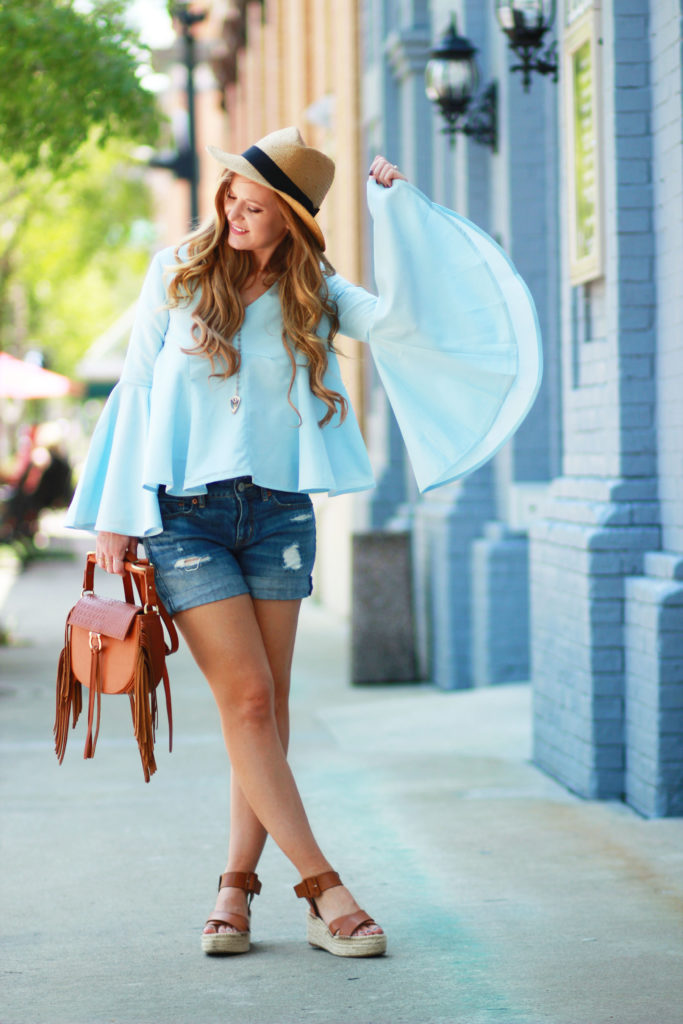 Orlando Florida fashion blog styles Chicwish bell sleeve top, American Eagle distressed boyfriend jeans and Sole Society espadrilles for a spring outfit
