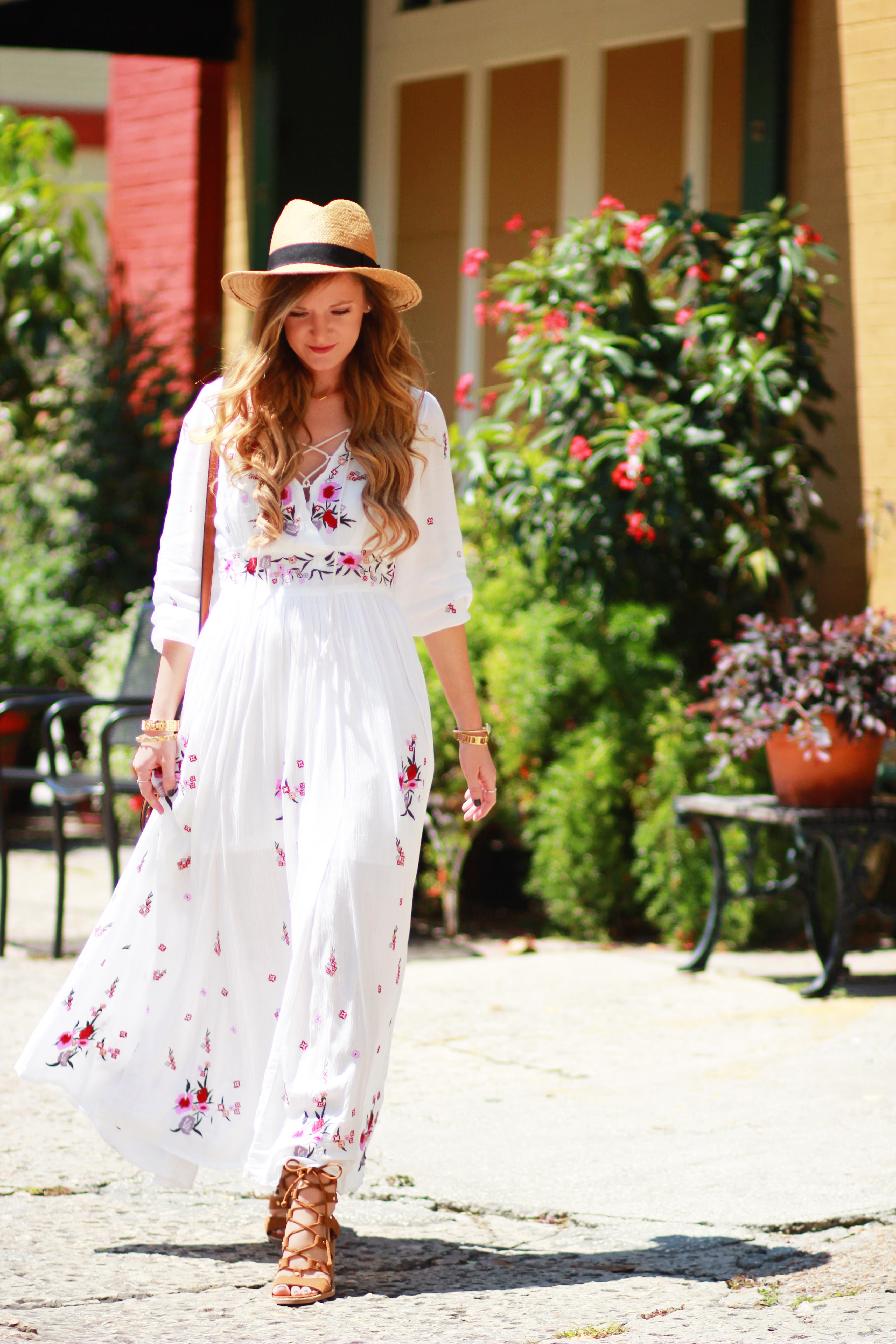 Boho Embroidered Maxi Dress | Upbeat Soles | Florida Fashion