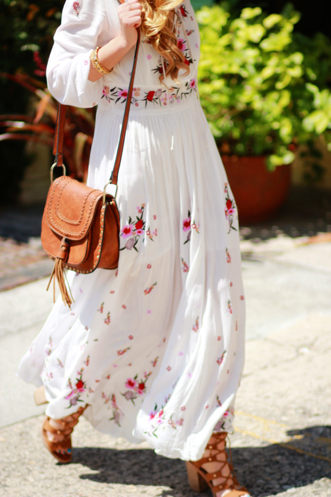 Orlando Florida fashion blog styles Chicwish boho embroidered maxi dress, Dolce Vita Lyndon sandals, and Chloe Hudson look alike for boho spring outfit