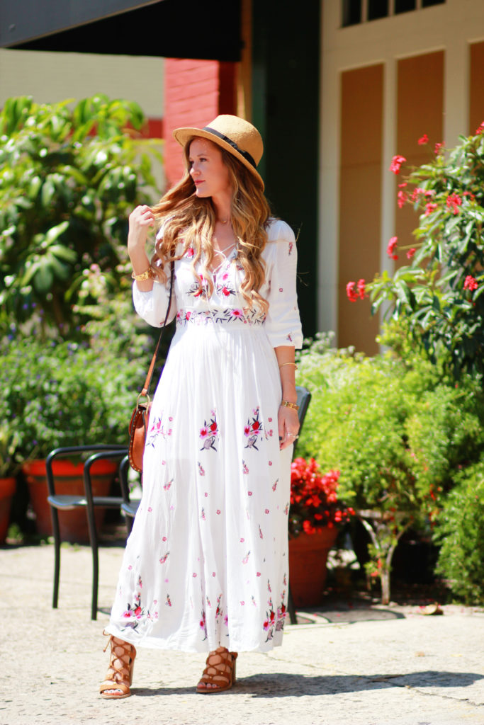 Orlando Florida fashion blog styles Chicwish boho embroidered maxi dress, Dolce Vita Lyndon sandals, and Chloe Hudson look alike for boho spring outfit