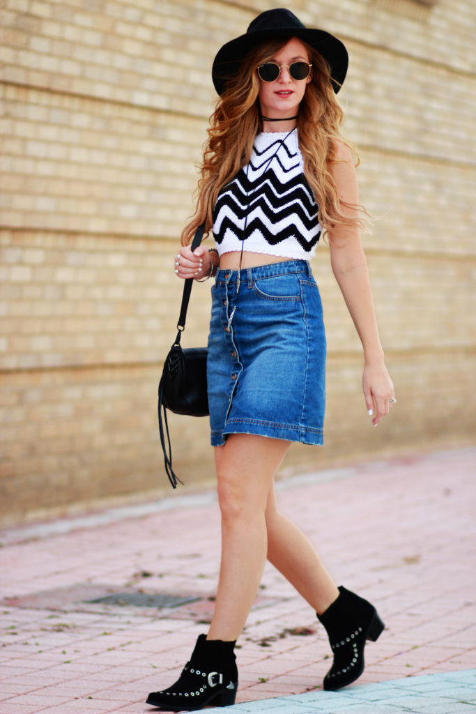 Orlando Florida fashion blog styles H&M crochet crop top with denim button up skirt, ASOS ankle booties, Rebecca Minkoff saddle bag for a casual spring look