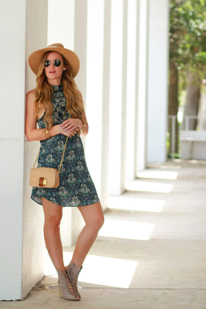 Orlando Florida fashion blog styles American Eagle patterned bohemian dress with Rebecca Minkoff lace up wedges and Ray Ban sunglasses.