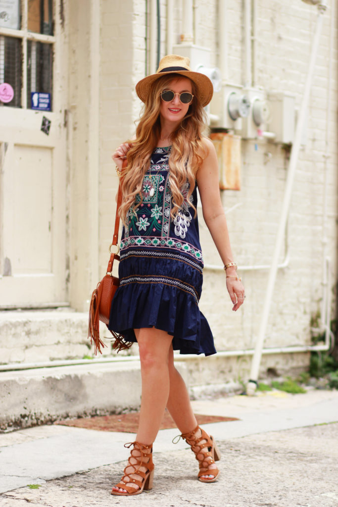 Orlando Florida fashion blog styles Chicwish embroidered bohemian dress with Dolce Vita lace up sandals and Sancia fringe bag for a summer outfit
