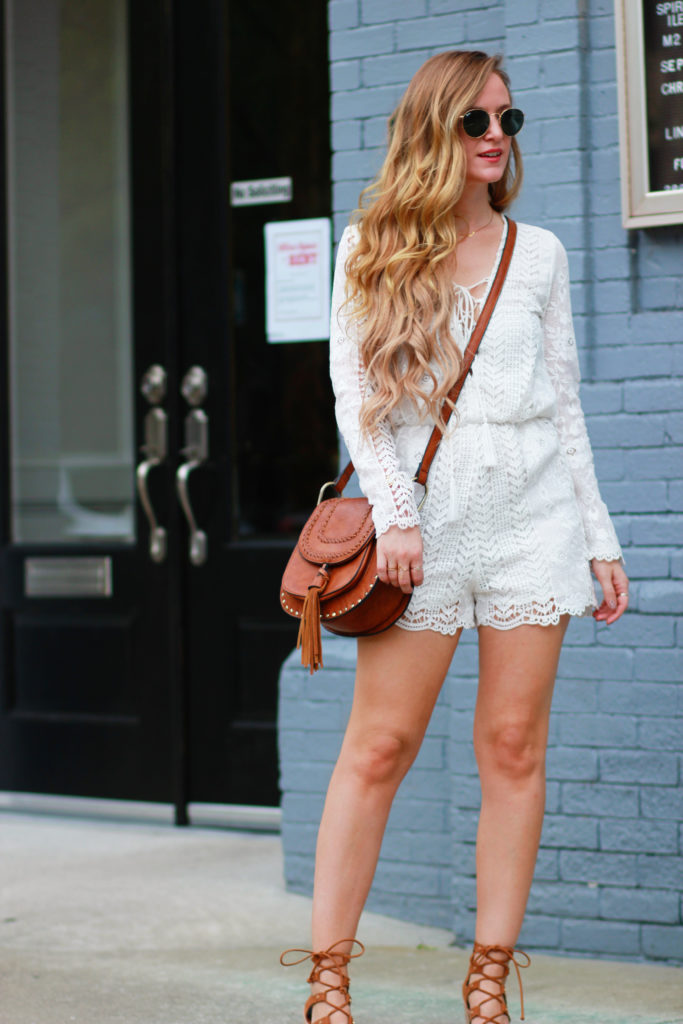 Orlando Florida fashion blog styles Gianni Bini lace romper with Dolce Vita Lyndon sandals and Ray Ban round sunglasses for casual summer outfit