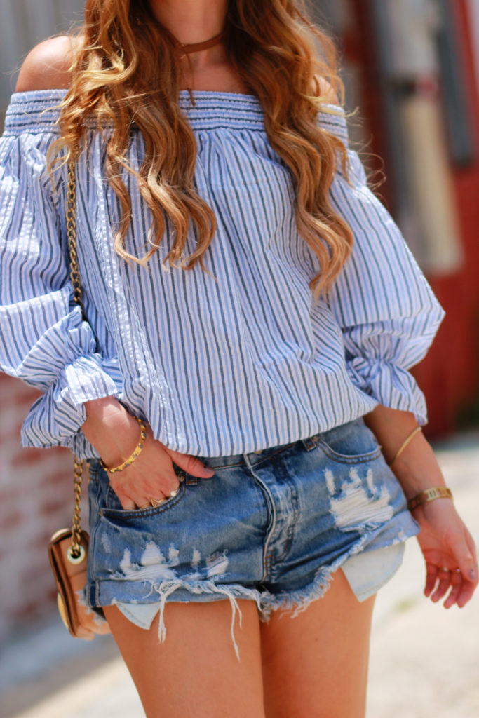 Orlando Florida Fashion blog styles Chicwish off the shoulder striped top with denim cut off shorts, and Sole Society gladiator sandals for a summer outfit