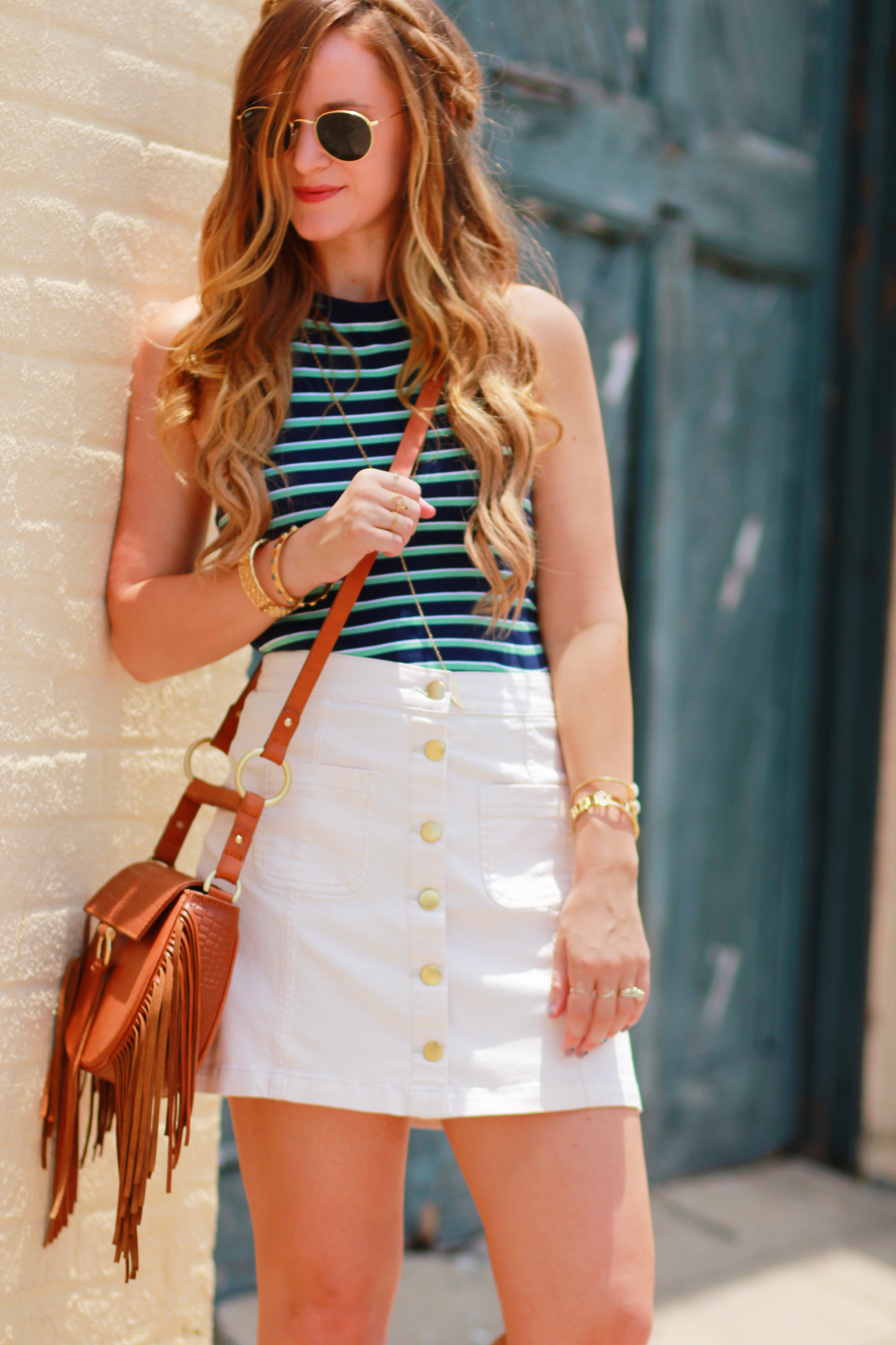 66416d3d3 Florida fashion blog styles H&M stripes halter top with H&M cream button up  skirt, Dolce
