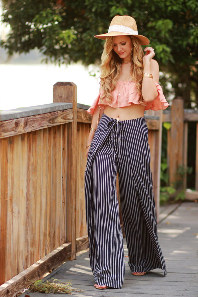 Orlando Florida fashion blog styles ruffle off the shoulder crop top with Forever 21 stripe wide leg pants, and Taudrey necklace for a casual summer outfit