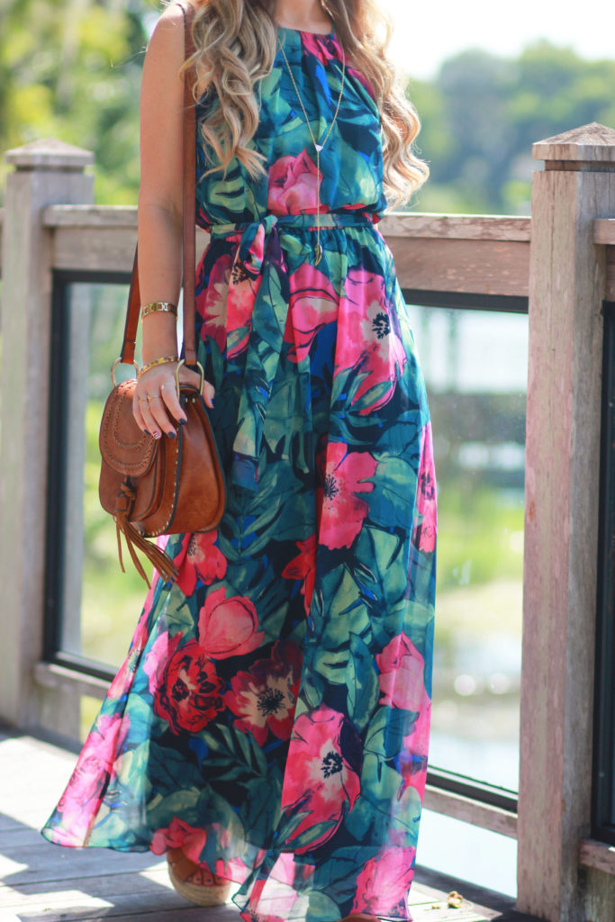 Orlando Florida fashion blog styles Tommy Bahama tropical maxi dress with Sole Society flatform espadrilles for a casual vacation outfit