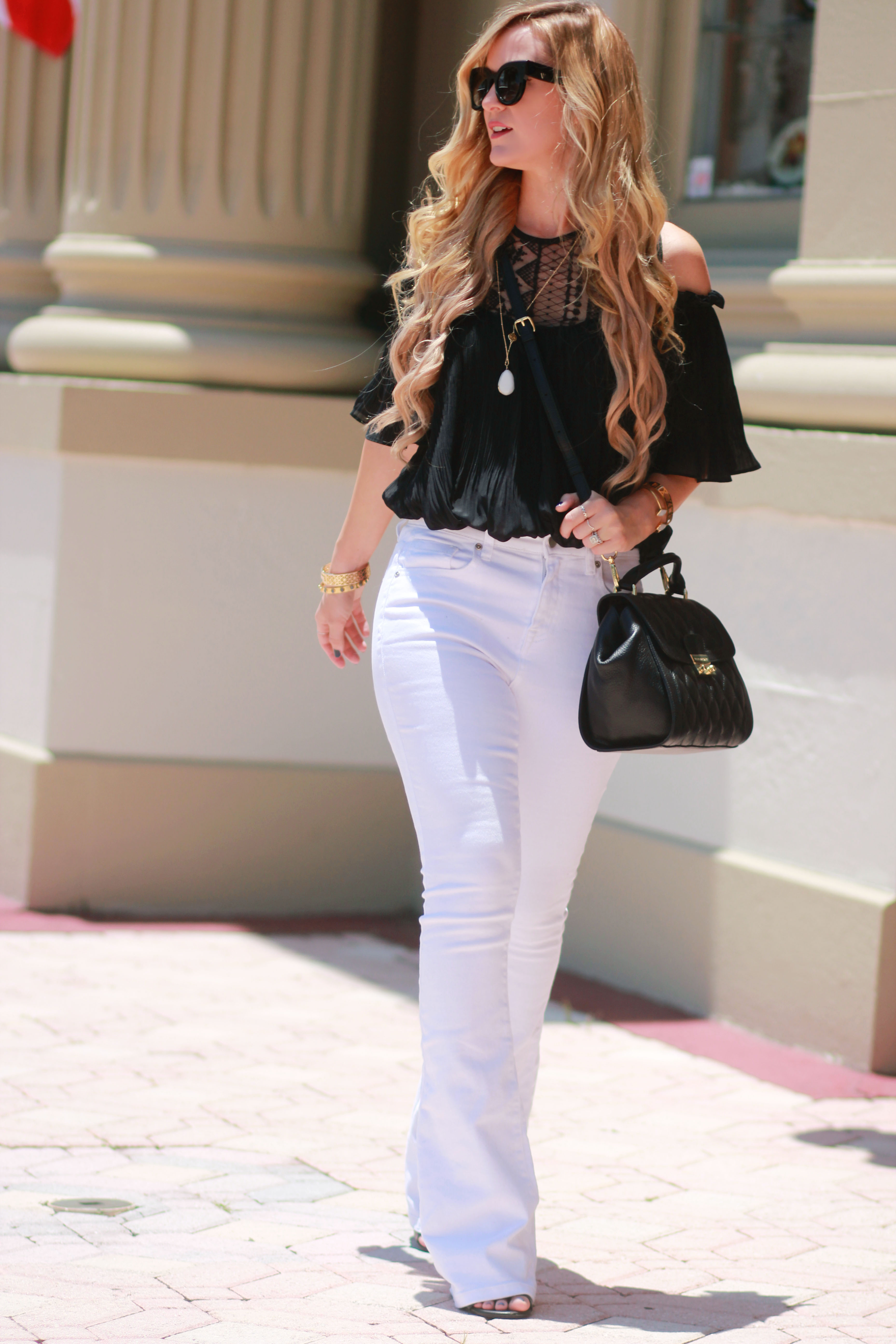 879512bd20 Orlando Florida fashion blog styles black and white date night outfit with  Shein off the shoulder