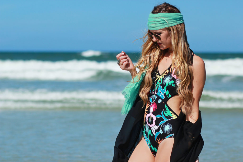 Orlando Florida fashion blog styles Coco Rave monokini floral swimsuit with black kimono and round Ray Ban sunglasses for a casual vacation outfit