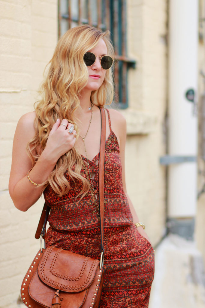 Orlando Florida fashion blog styles American Eagle bohemian jumpsuit with Kendra Scott 2016 fall collection and tassel crossbody for casual summer outfit