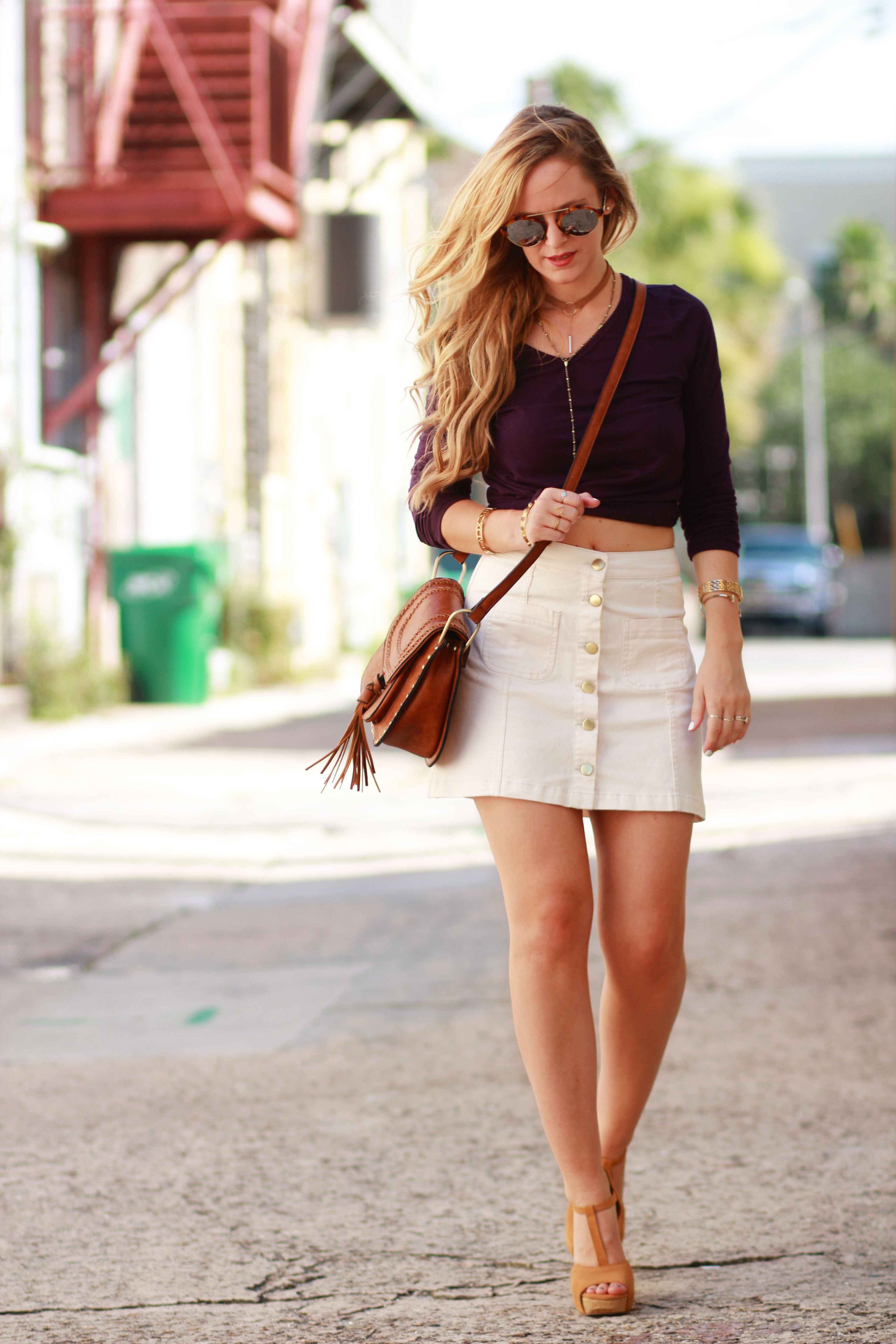deae712546 Orlando Florida fashion blog styles Summerskin top with H&M button up  skirt, Illestevia aviator sunglasses