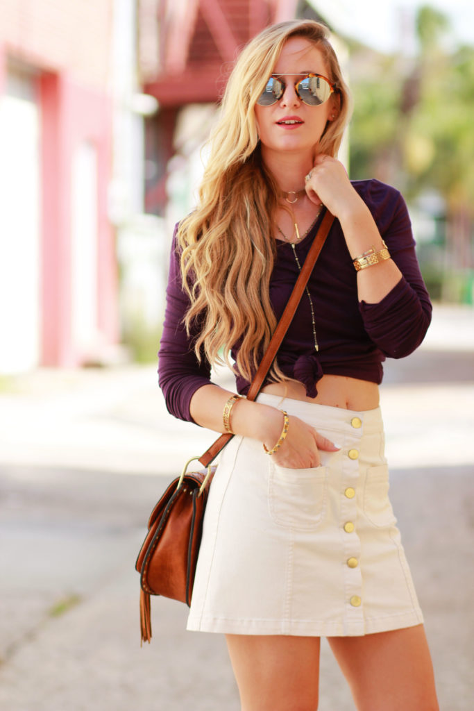 Orlando Florida fashion blog styles Summerskin top with H&M button up skirt, Illestevia aviator sunglasses, and Sancia fringe bag for a casual summer outfit