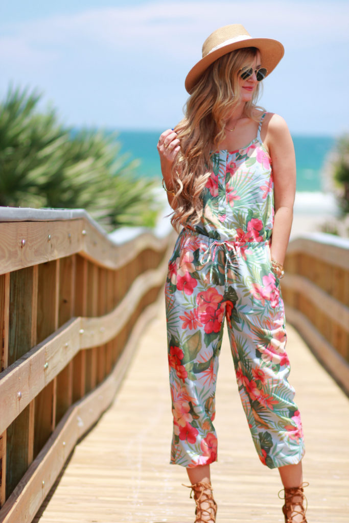 Orlando Florida fashion blog styles Tommy Bahama tropical jumpsuit with lace up sandals and round Ray Ban sunglasses for a casual vacation outfit
