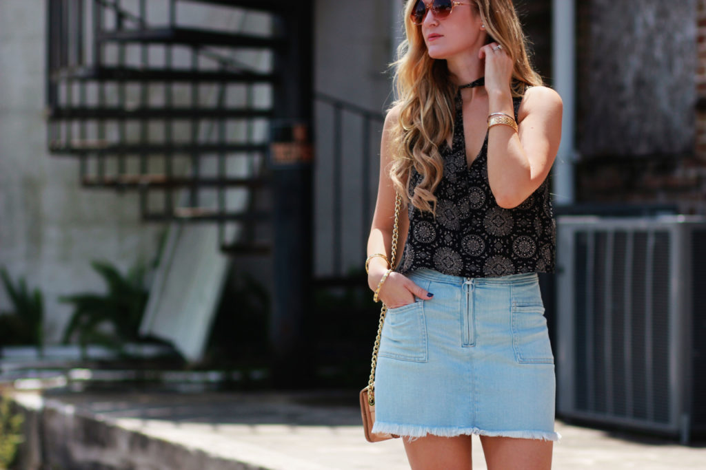 Orlando Florida fashion blog style Forever 21 crop top with Abercrombie denim zipper skirt and Rebecca Minkoff wedges for a casual summer outfit