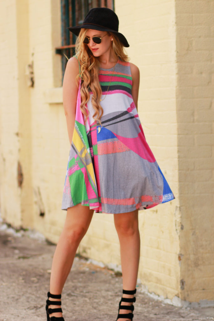 Orlando Florida fashion blog styles mosaic swing dress with Kendall and Kylie block heels, round Ray Ban sunglasses for a casual summer outfit