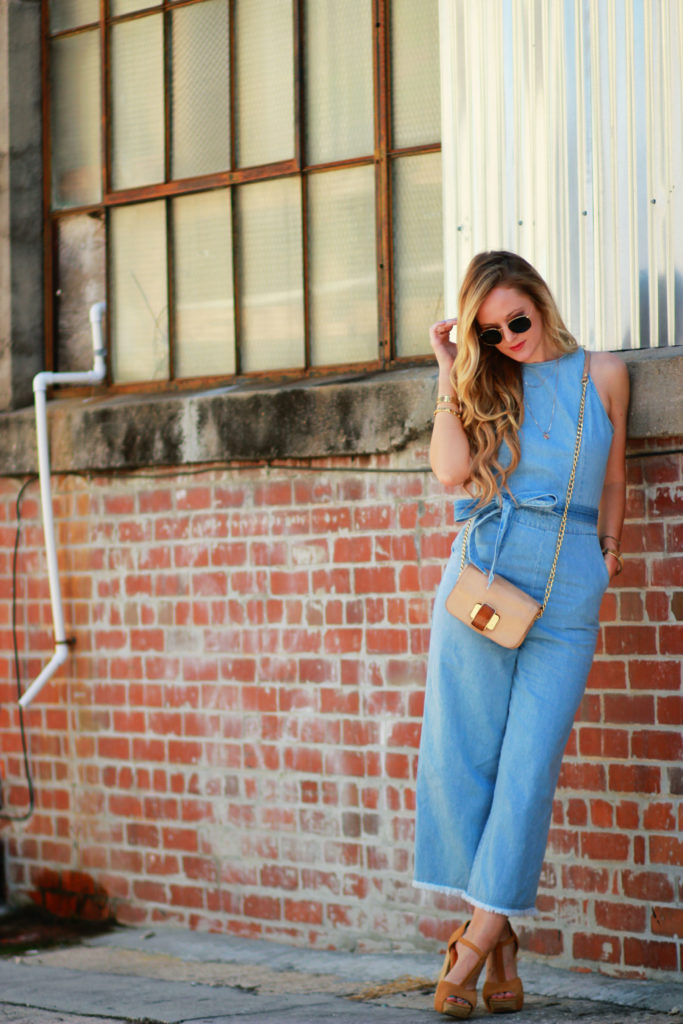 Orlando Florida fashion blog styles Goodnight Macaroon denim jumpsuit, round Ray Ban sunglasses, platform suede sandals for a 70s inspired outfit