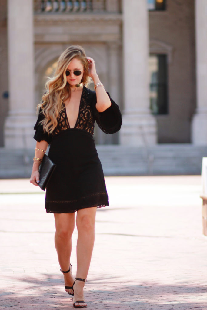 Shannon Jenkins of Upbeat Soles styles a sexy date night outfit with For Love and Lemons Carmine dress, Steve Madden black heels, and Ray Ban Icons