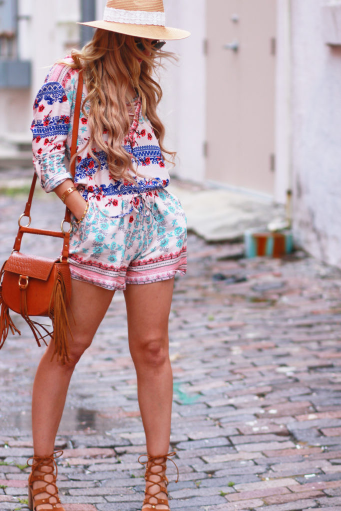 Orlando Florida fashion blog styles bohemian lace up Goodnight Macaroon romper, lace up block heel sandals, and Sancia bag for a casual summer outfit
