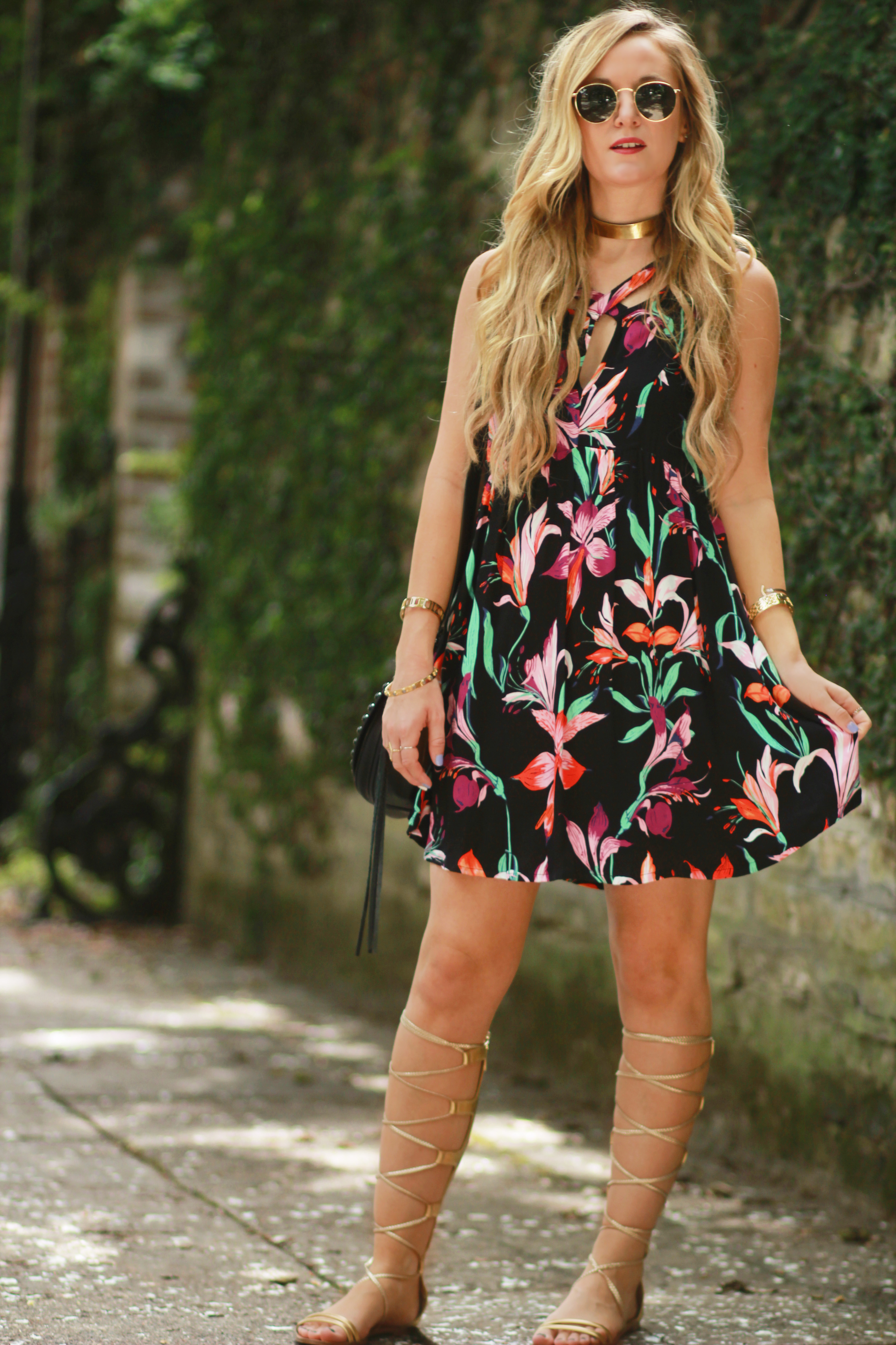 c06e48dcbdd0 Orlando Florida fashion blog styles Mink Pink floral summer dress with gold  gladiator sandals