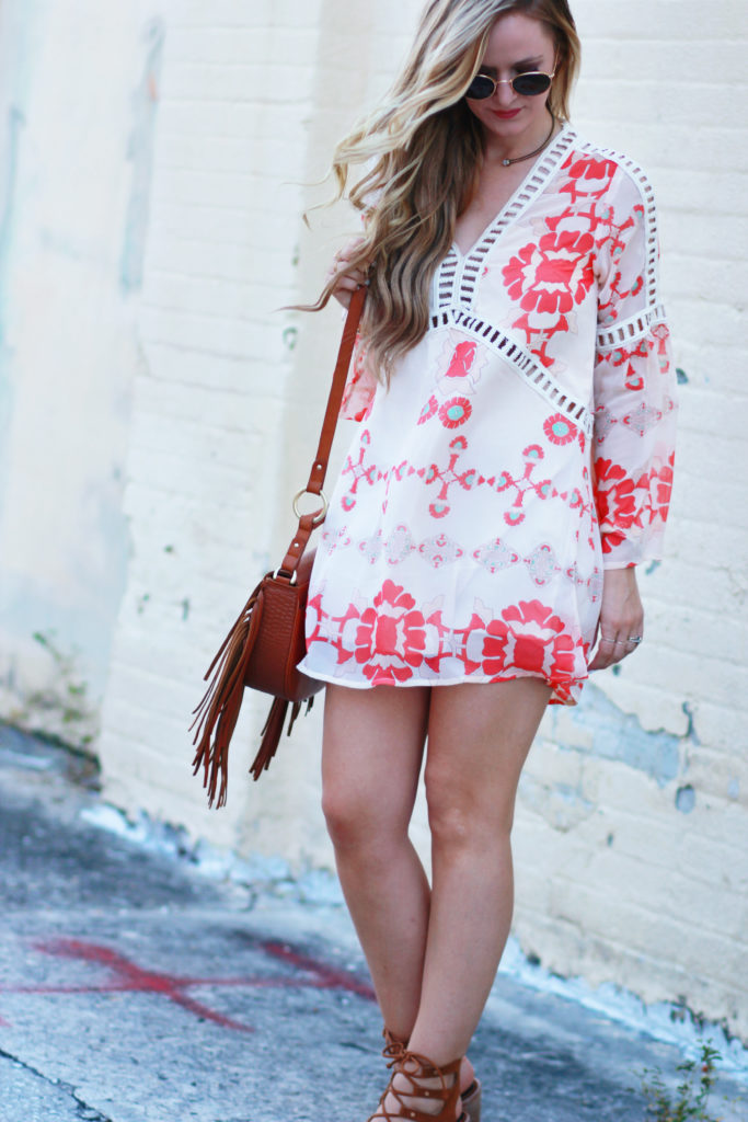 Orlando Florida fashion blog styles bohemian floral bell sleeve dress, Dolce Vita Lace Up heels, and Sancia fringe bag for a casual summer outfit
