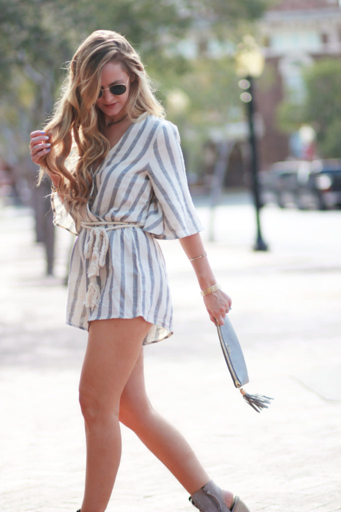 Florida fashion blog styles Morning Lavender striped romper with Rebecca Minkoff lace up Elle heels and GiGi NY clutch for a summer date night outfit