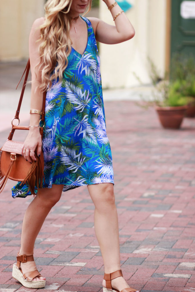 Orlando Florida fashion blog styles Misred palm print backless dress with Sancia babylon bag, and flatform espadrille sandals for a casual vacation outfit
