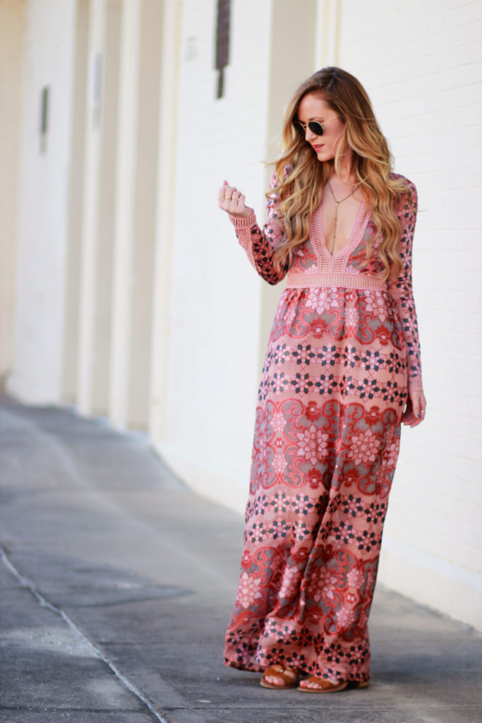 Shannon Jenkins of Upbeat Soles styles a fall maxi with For Love and Lemons Juliet dress from Blue Planet, lace up Dolce Vita sandals, and round Ray Bans