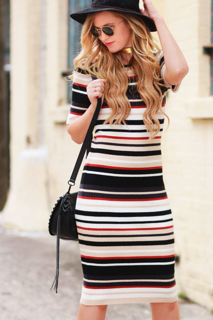 Shannon Jenkins of Upbeat Soles styles casual fall outfit with Forever 21 stripped midi dress, Sole Society booties, Rebecca Minkoff studded bag