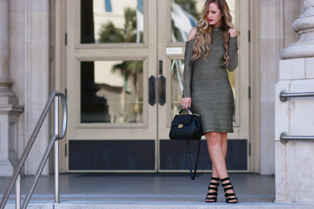 Shannon Jenkins of Upbeat Soles styles a Gianni Bini gold Holiday dress, Kendall and Kylie heels, and Vera Bradley leather quilted bag