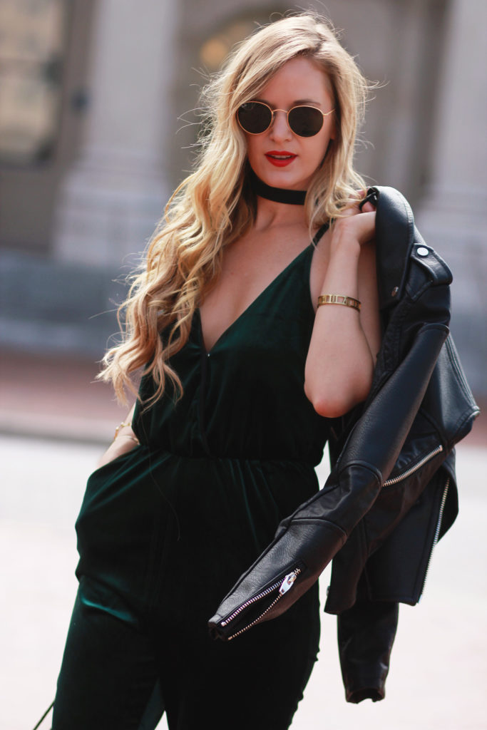 Shannon Jenkins of Upbeat Soles styles a dressy Holiday outfit with Gianni Bini velvet jumpsuit, Blank NYC leather jacket, and lace up Steve Madden heels