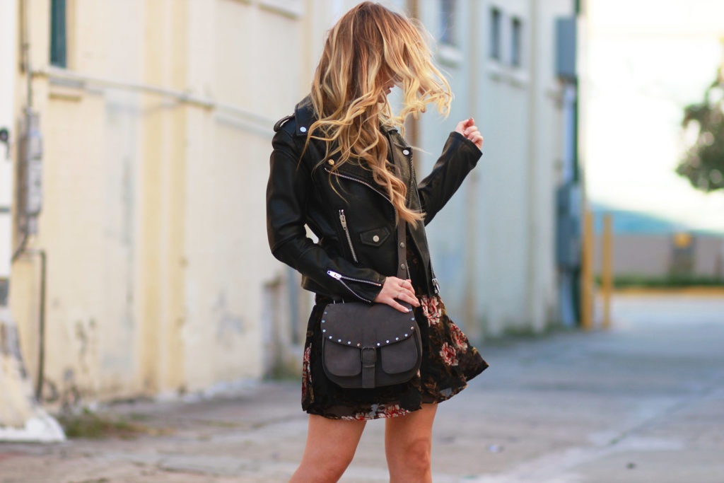 Shannon Jenkins of Upbeat Soles styles an edgy winter outfit with American Eagle velvet dress, Rebecca Minkoff Biker Saddle bag, and silver heeled booties