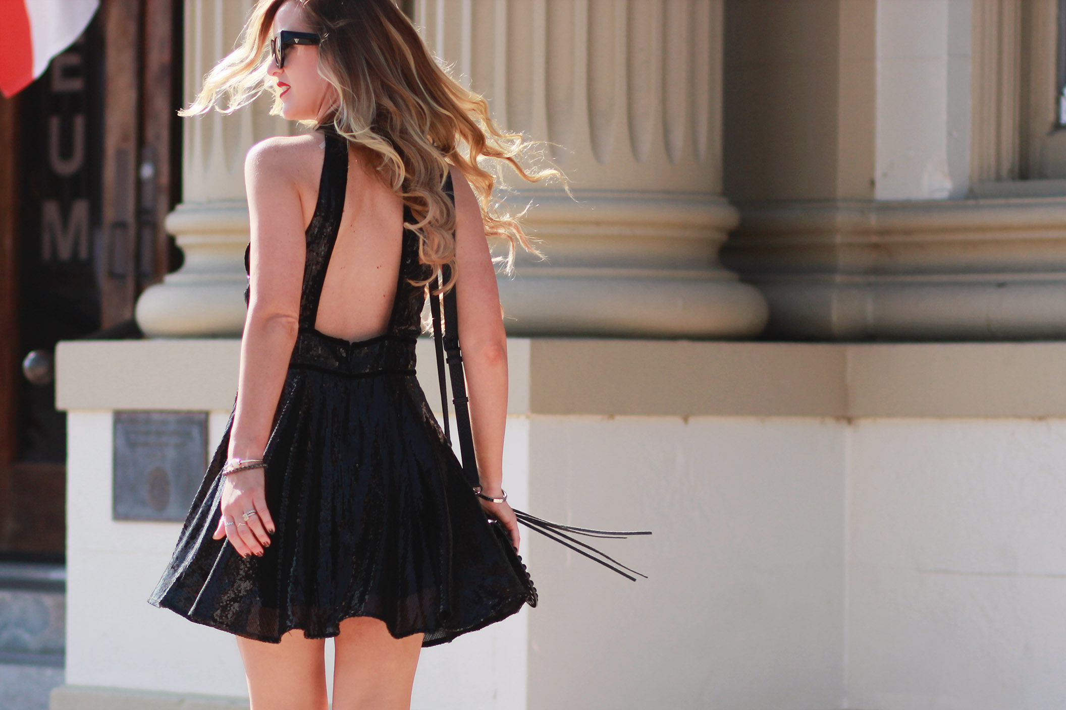 Shannon Jenkins of Upbeat Soles styles cute New Years sequin dress from Free People with Kendall and Kylie heels, and Valley Eyewear sunglasses