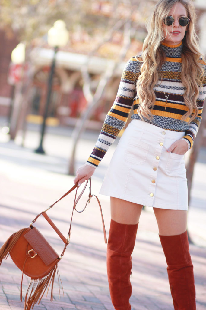 Shannon Jenkins of Upbeat Soles styles a casual Winter outfit with Target striped turtleneck, Sole Society suede over the knee boots, and Sancia fringe bag