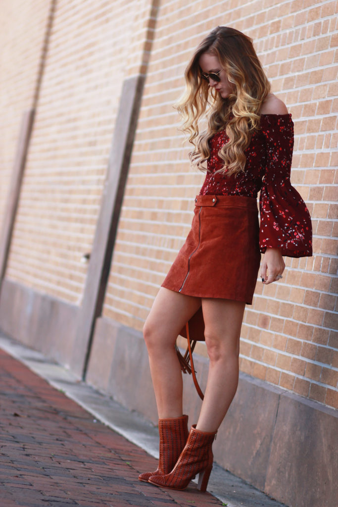 Shannon Jenkins of Upbeat Soles styles boho winter outfit with suede zip up skirt, Express bell sleeve top, Schultz mid calf booties, and round Ray Bans