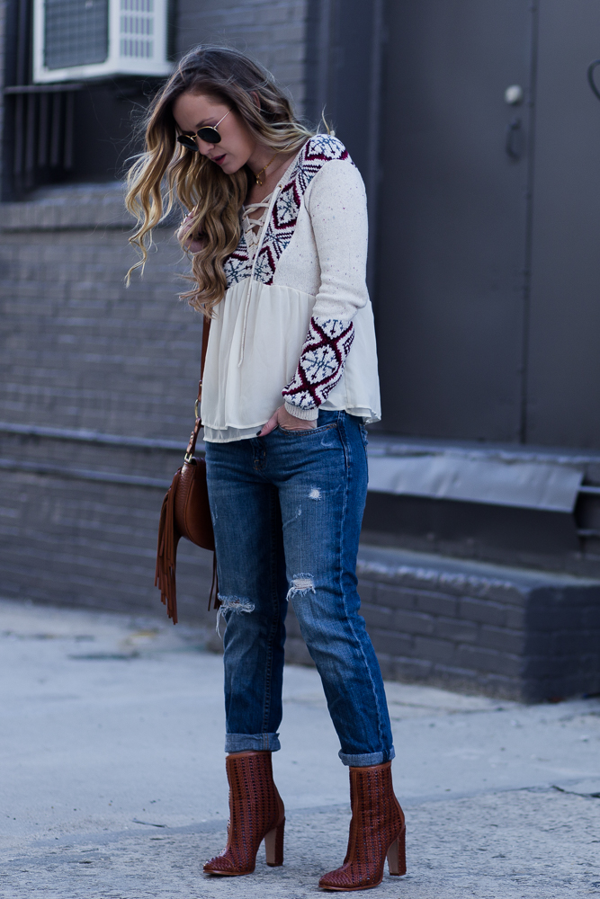 Shannon Jenkins of Upbeat Soles styles a casual winter outfit with Abercrombie lace up sweater, American Eagle boyfriends jeans, and Schultz booties